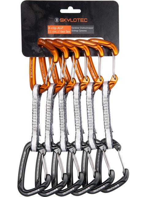 Skylotec X-Clip-Alp express set 11cm 6 Pieces grijs/oranje